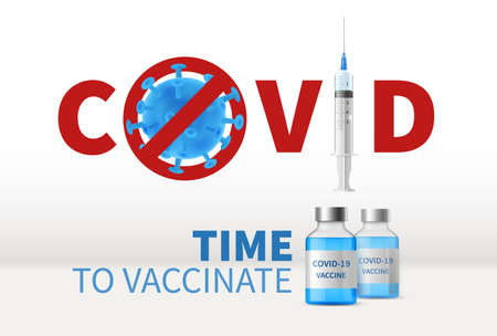Syringe global vaccination. Realistic 3d glass medicine bottles, syringe with vaccine injection, stop covid-19 pandemic poster, treatment for coronavirus and building immunity. Ilustrace