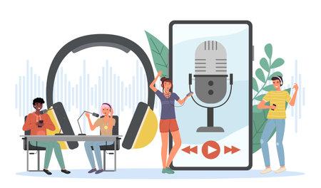 Podcast listening. Happy young people listen online radio, recording equipment, man and woman talk live, headphones and microphones in studio, webinar streaming smartphone app.