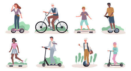 People riding ecology transport. Men and women drive personal modern street transportation, mobile green electric movement. Characters riding scooter and skateboard, hoverboard and bike vector set.
