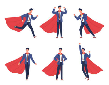 Super businessman poses. Cartoon comic hero brave male character, adult strong man in office suit with red flowing cape, different body positions, help and victory symbol vector flat isolated set