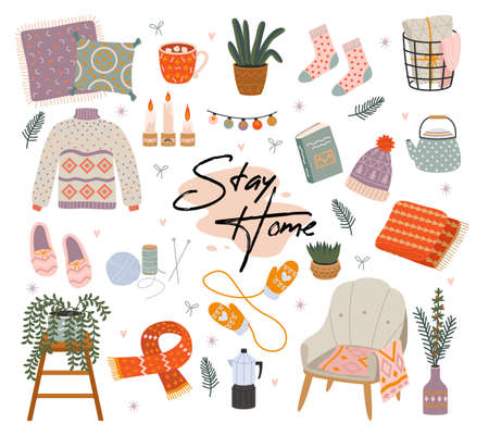Cozy home. Scandinavian comfort hand drawn interior objects, apartment decorations and furniture collection, house pleasant winter hygge things, warm lamp atmosphere. Vector cartoon isolated set
