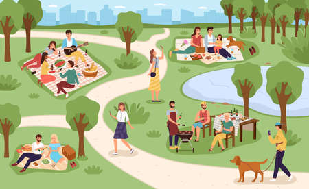 Park picnic. Family rest in city park, people eat and drink in nature together, communicate with friends sitting on grass, summer outdoor relax, bbq party on weekend. Vector colorful cartoon concept