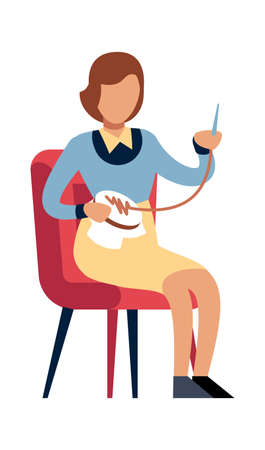 Woman doing needlework at home. Female character sitting on chair with thread and needle, girl embroiders, homemade clothes and decor, leisure time and hobby flat vector cartoon isolated illustration