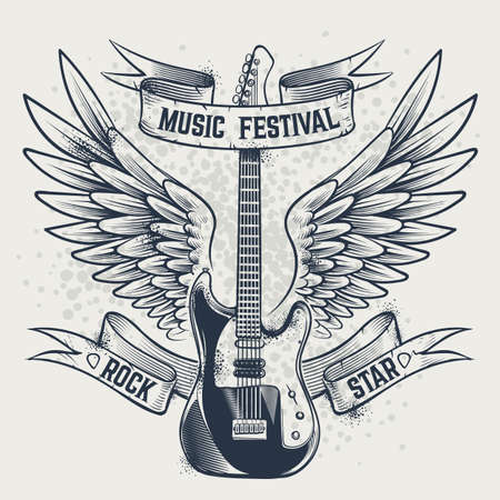 Guitar with wings. Electric guitar and angel wings in sketch style template for music festivals poster, tattoo or t-shirt print, vintage grunge monochrome placard, vector isolated retro illustration