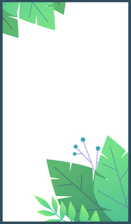 Plant flat minimal template for stories. Green leaves and berries on white background, summer botanical frame with copy space for social media posts.