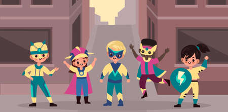 Urban superhero kids team. Brave children heroes band on city street background, cute brave girls and boys superpower holders in colorful bright capes and masks. Cartoon flat style vector poster