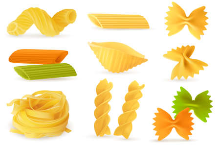 Dry pasta objects. Realistic italian culinary ingredients, different pasta and noodles shapes. Homemade farfalle and fusilli, gemelli and penne, conchiglie and cavatappi, carbohydrate food.