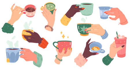 Woman hands with beverage cups. Female arms with manicure hold different mugs with hot drink, coffee, cocoa and tea. Colorful tableware for morning drinks collection modern cartoon vector isolated set