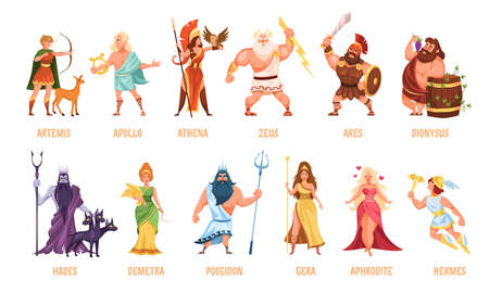 Greek gods pantheon. Mythological olympian gods, ancient Greece religion women and men characters with names collection, traditional elements personifications. Cartoon flat style vector isolated set Ilustrace