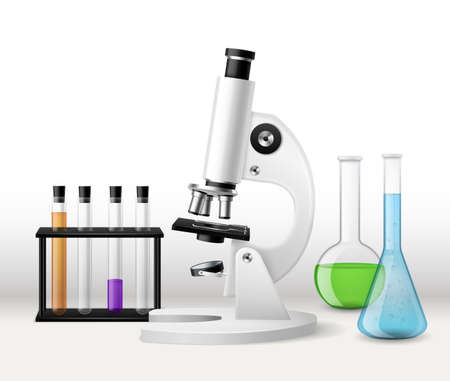 Realistic laboratory research. 3d microscope with test tubes tripod, glass flasks with colorful liquid reagents, chemical or biology scientific study, pharmacy and medical investigation vector concept Ilustrace