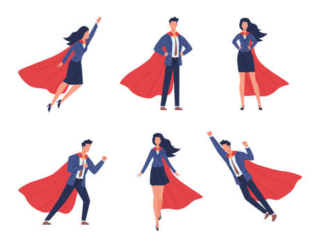 Super businessman characters. Business man and woman in different heroic poses, brave strong people, flying heroes in flowing capes and suits. Help and victory symbol vector isolated flat cartoon set