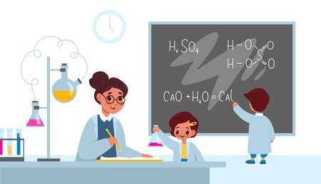 Chemistry lesson. Students in classroom interior with teacher, boy writes formulas on school blackboard, girl with flask, laboratory work in school. Science and education for children vector concept.