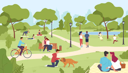 People in park. Happy men and women sitting on bench, city summer or spring park walking, group yoga class outdoor, nature romantic dates, children play, riding bicycle vector colorful cartoon concept Ilustrace
