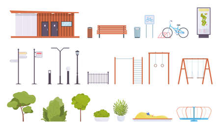 City park elements. Public rest place objects, walking zone parts, lanterns and benches, sports equipment and kids playground, green trees, bushes and flower beds, stand with map vector flat style set Ilustrace