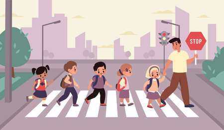Children crosswalk. Students group with backpacks cross street with adult accompanied, elementary school boys and girls with teacher on urban landscape. Road safety cartoon flat style vector concept.