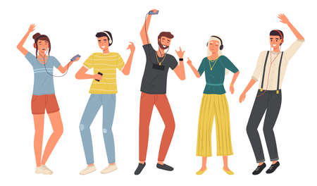 Music listening. Young people with headphones and smartphones set, dance and relaxation lifestyle, happy friends in modern casual wears with earphones. Vector flat cartoon isolated on white concept.