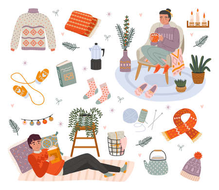 Cozy people characters. Relax time at home, young man and woman chill among cozy little things, knitwear and comfort. House pleasant winter hygge interior, warm lamp atmosphere.