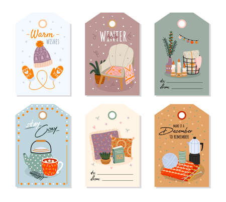 Cozy home. Scandinavian comfort hand drawn interior objects on price tags, warm cute little things for comfort on gift signatures. Furniture and dishes, pillows and blankets on card vector cartoon set Ilustrace
