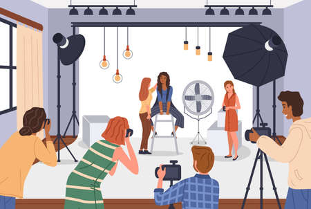 Photo studio. Photographers shoot models in studios, or romantic, family with children and subject shooting, people with professional cameras and studio equipment. Vector cartoon scenes set