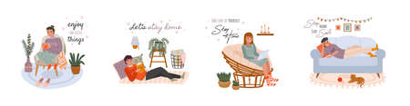 Relaxing people. Young women and men at cozy home scenes, boys and girls characters chill on sofas and armchairs, house pleasant winter hygge interior cute little things. Vector cartoon hand drawn set
