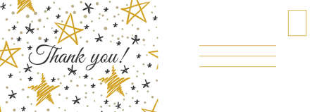 Thank you postcard. Abstract background with golden and gray hand drawn doodle stars, grateful letter template, holiday thanksgiving day modern design invitation and greeting cards vector illustration Ilustrace