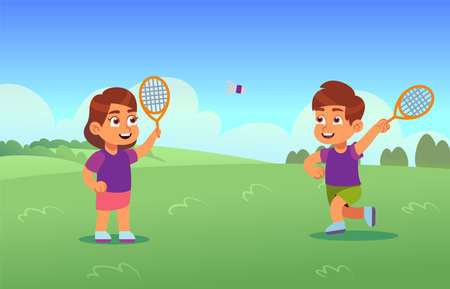 Children play badminton. Happy athletes boy and girl with racket and shuttlecock on court, little kids playing outdoors, cartoon panorama summer meadow park, sport school activity vector illustration