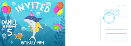 Birthday invitation card. Holiday card with flat bright colorful shark in cone hat and balloons, letter template with congratulate text, kids birthday party greeting cards vector cartoon illustration