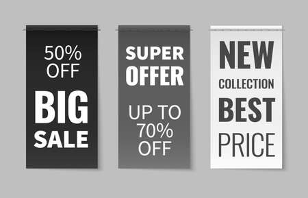 Textile labels. Fabric material stitched clothes tags, elegant white, black, grey discount flyers, sale season inscriptions. 3D square pieces of cloth with text for promotion vector realistic banners