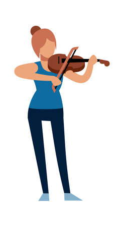 Woman musician. Classic female violinist character in casual clothes with violin plays melody, acoustic music show, symphony concert in opera or theater, flat vector cartoon isolated illustration