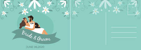 Wedding postcard. Happy couple bride and groom hugging, romantic card with lovers, letter template with copy space on floral background, invitation and greeting flat vector cartoon illustration Ilustração