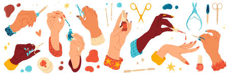 Female hand care. Nails salon, manicure tools and different angles hands with scissors and files, bright gel polishes and skin care products. Nail studio collection, vector modern flat cartoon set