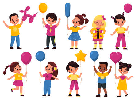 Kids with balloons. Cartoon fun happy girls and boys hold different shapes balls, little children play with balloon different shapes. Birthday party collection, vector bright flat style isolated set