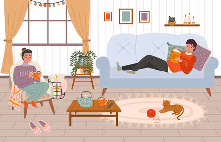 Couple at home. Young girl and guy in a cozy room pleasant winter hygge interior, family relaxation, people chill with book and hot drink in warm lamp atmosphere. Vector hand drawn cartoon concept