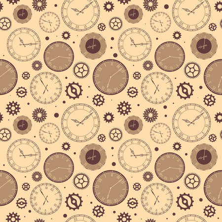 Clock faces seamless pattern. Vintage watches background, ticking time elements with roman and arabic numerals in sepia colors. Decor textile, wrapping paper wallpaper vector texture print or fabric