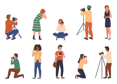 Professional photographers. Cartoon people with cameras different poses, male and female characters take photo shots, paparazzi or journalist occupation, digital photography hobby. Vector isolated set Ilustração