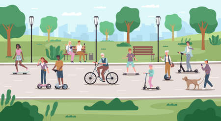 People in public park. Eco city transport, different ages men and women use electric scooters, cycles and skateboards. Ecology urban vehicle. Modern movement method, vector cartoon concept