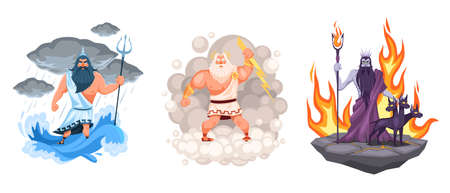 Three main greek gods. Cartoon Zeus, Poseidon and Hades elements surrounded, waves, clouds and fire environment, ancient mythology. Characters on mount, religious person vector cartoon concept