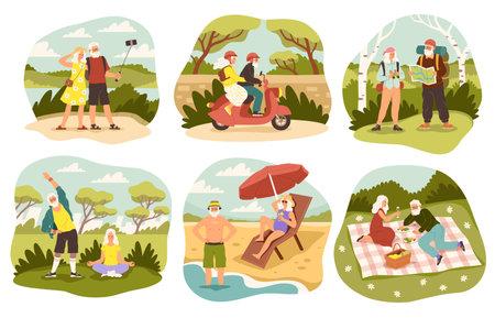 Senior couple leisure time. Elderly man and woman enjoyment, joint activities and hobbies, outdoors walking, picnic in park, beach holidays on ocean, riding vintage bike. Vector cartoon scenes set Ilustração