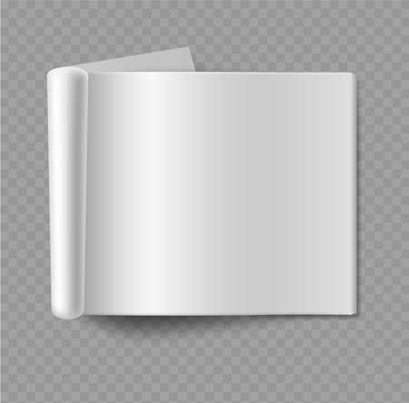 Blank empty horizontal album mockup. Realistic open magazine paper sheet, journal or fold catalog, magazine or book template, office stationery vector 3d object isolated on transparent background Ilustração