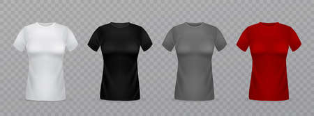 Realistic women t-shirts. 3d isolated female clothes templates. White, black, grey and red blank ladies shirts, front view. Girls empty textile marketing branding collection vector isolated mockup Ilustração
