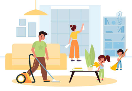 Children helping parents. Family joint house cleaning in living room interior. Cartoon father, mother and little kids tidy household, people washing and vacuuming. Housekeeping chores vector concept