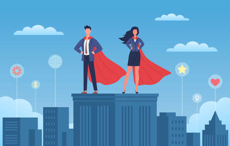 Business heroes. Woman and man with red capes and suites on skyscraper roof, city background with different symbol tags, super brave strong leader people. Professional team flat vector cartoon concept