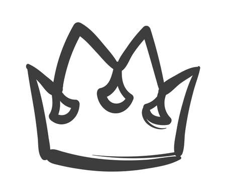 King sketch crown. Ink drawing royal imperial coronation symbol, hand drawn black outline icon, luxury queen, princess or prince tiara monarch majestic jewel diadem vector isolated single illustration Ilustração