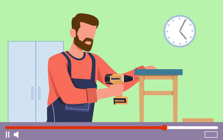 Video tutorials. Carpentry lessons on video screen, internet education, homemade furniture blog, vlog or show with joiner webinar, vector flat cartoon concept.
