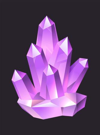 Purple jewelry cartoon gems. Crystal stalagmites and stalactites, colorful 3d luxury quartz, neon glowing amethyst or sapphire gemstone. Ilustração