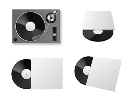 Vinyl record player mockup. Realistic vinyl turntablism, isolated black plate disc in different angles, blank cardboard package template, vintage musical equipment, empty blank cover. Vector 3d set
