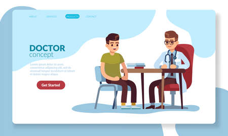 Medical landing page. Young cartoon characters doctor and patient web template. Diagnosis, consultation and examination in clinic, checkup and treatment in hospital, vector modern flat style concept
