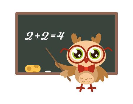 School owl near blackboard. Cute bird with glasses teaching mathematics, funny joyful bird teacher, knowledge and learning mascot, wisdom symbol child print isolated on white background illustration