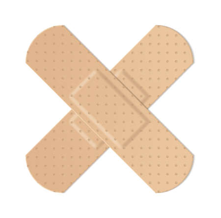 Realistic water resistant perforated medical plasters. Plastic beige colored adhesive tape cross form, protection and health care first aid object, vector isolated on white background illustration