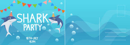 Birthday invitation cards. Shark birthday party kids greeting card. Holiday postcard with flat bright colorful underwater animals in cone hat, letter template with text, vector cartoon illustration